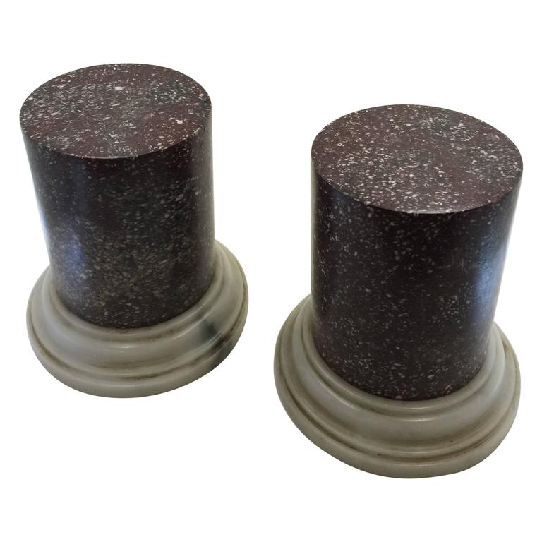 Pair of Grand Tour Porphyry Half Columns with White Marble Socles