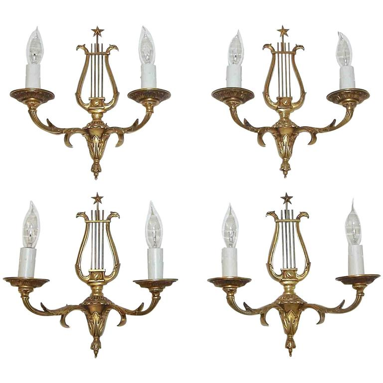 Set of Four French Directoire Style Brass Petitot Wall Sconces