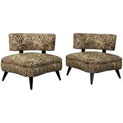 Pair of 1950s Retro Chairs in Zebra Print