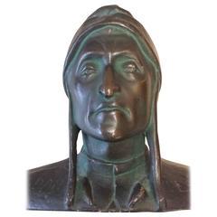 Bronzed Plaster Portrait Bust of Dantes Alighieri, circa 1890-1900, Italy