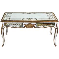 Exquisite Jansen Verre Églomisé Mirrored Louis XV Style Cocktail Table