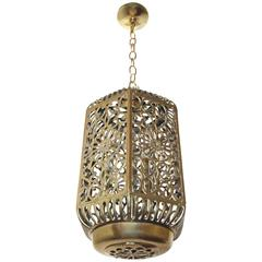 Large Pierced Filigree Brass Japanese Asian Ceiling Pendant Light