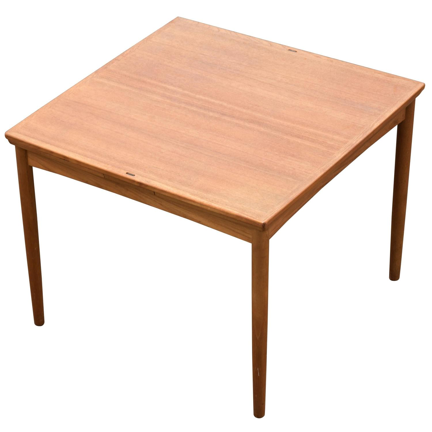 Danish Square Teak Flip Top Card Table With Leaves At 1stdibs