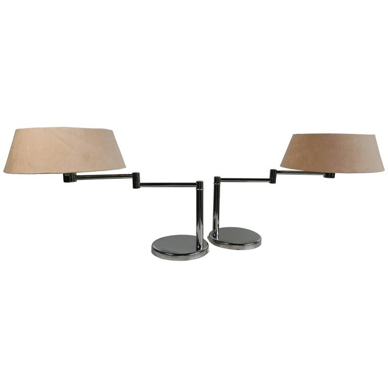 Pair of Walter Von Nessen Swing Arm Table Lamps