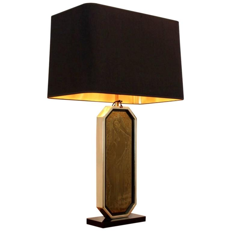 Georges Mathias 23-Caratt Gold-Plated Handmade Etched and Signed Table Lamp