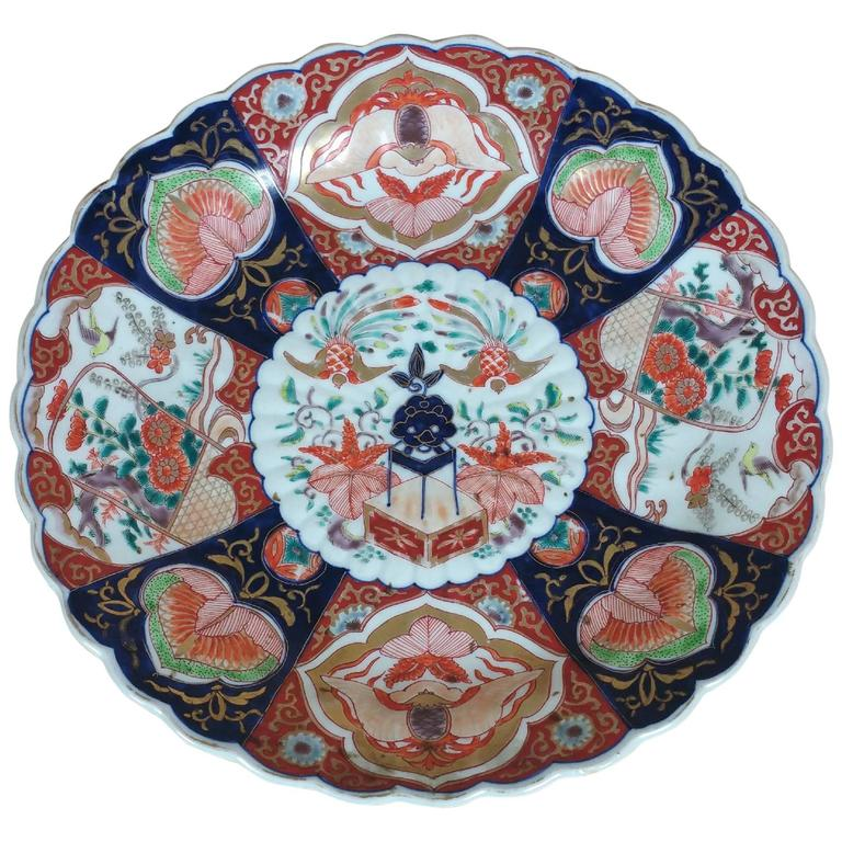 19th Century Japanese Imari Dish with Flowers and Birds