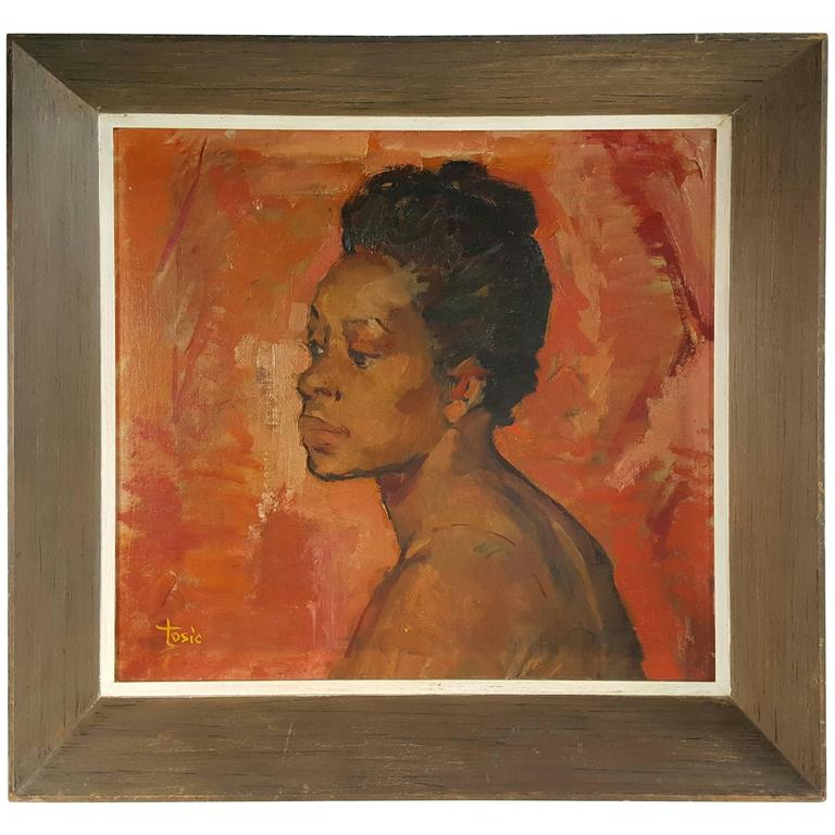 """Modernist Oil Painting on Board by Budimir D. Tosic """"Portret, 1950"""