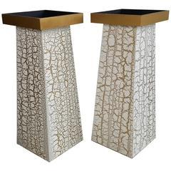 Modernist Crackle Finish Plant Stands / Pedestals