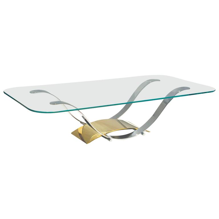 Polished Stainless Steel and Brass Cocktail Table