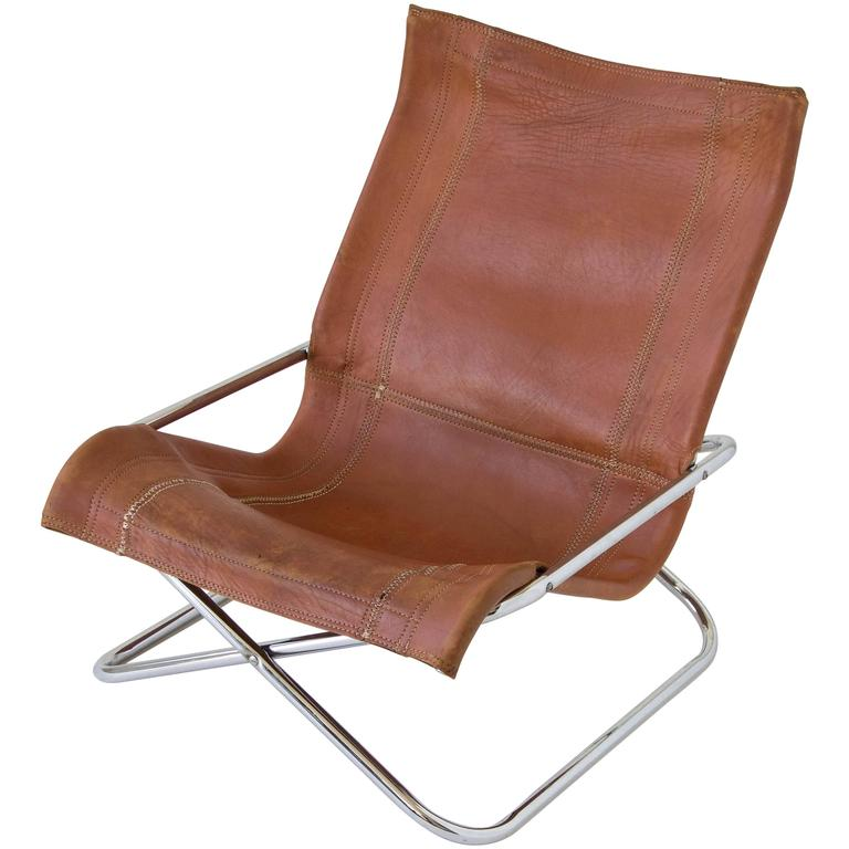 Sueki Uchida Leather Sling Chair At 1stdibs