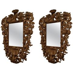 Pair of Finely Carved Italian Giltwood Mirrors