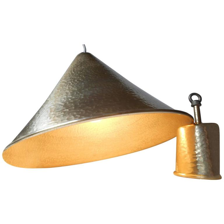 Danish Mid-Century Hammered Brass Hanging Lamp with Matching Canopy, 1960s For Sale