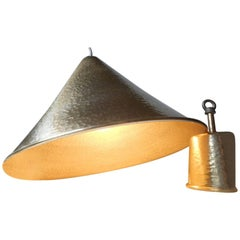 Danish Mid-Century Hammered Brass Hanging Lamp with Matching Canopy, 1960s