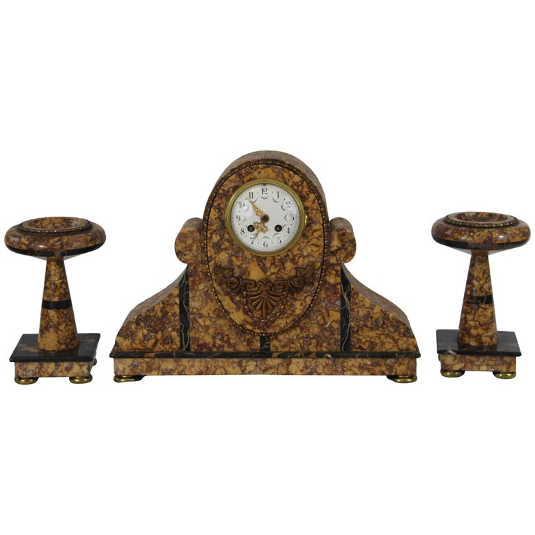 Art Deco Mantel Clock Set For Sale