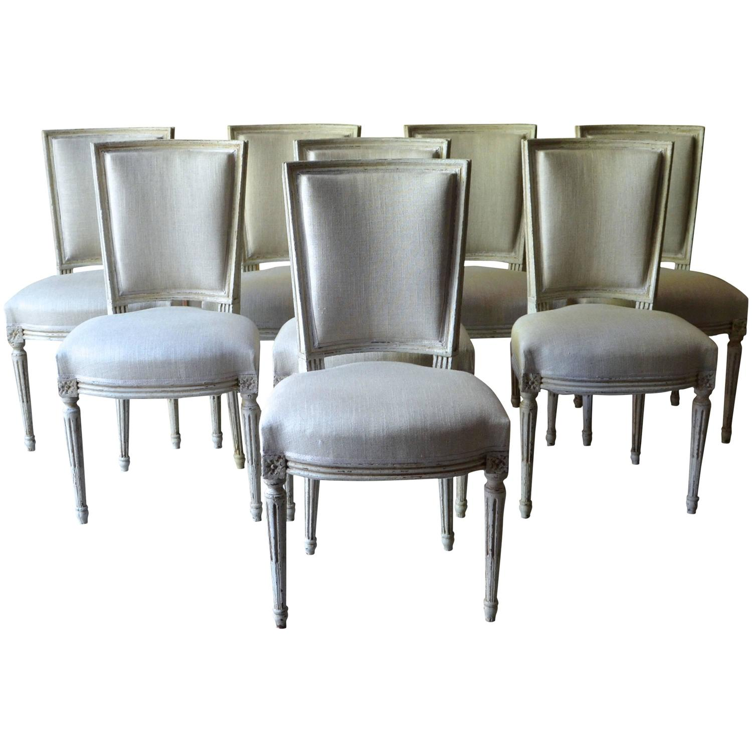 Set Of Eight Painted French Louis XVI Style Dining Chairs At 1stdibs