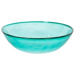 Italian Venetian, Bowl, Blown Murano Glass, Light-Green, Signed Cenedese, 1970s