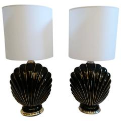 Pair of Coquille Lamps in the style of Tommaso Barbi