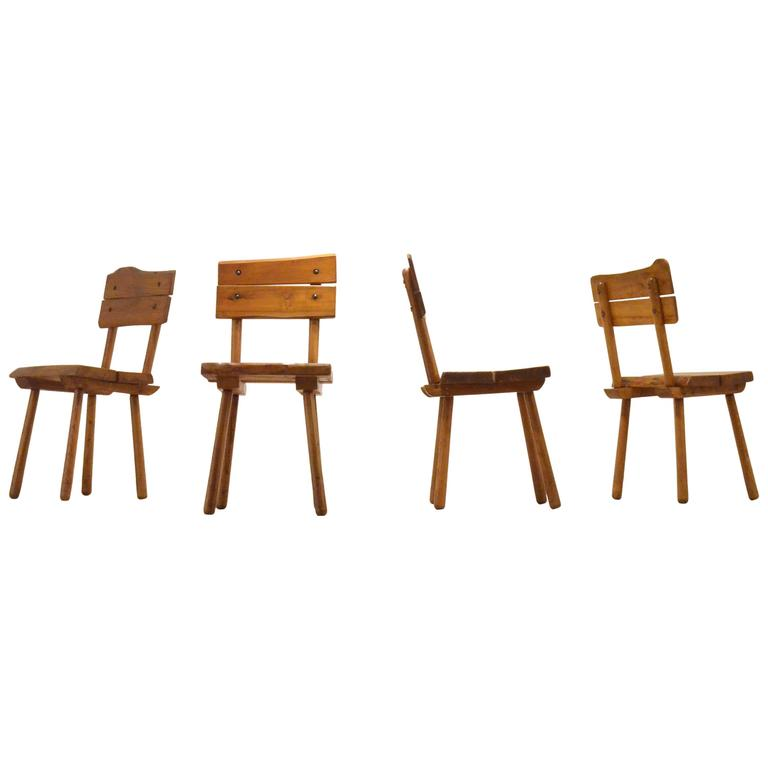 French Mid-Century Pierre Chapo Style Brutalist Oakwood Dining Chairs