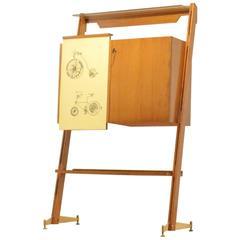 Mid-Century Italian Design Fornasetti Style Bar Cabinet in Oak & Yellow Formica