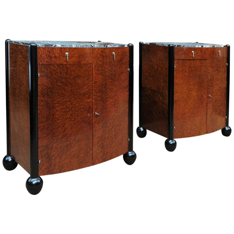 Pair of Art Deco Curved Burl Wood and Marble Buffets, circa 1925 1