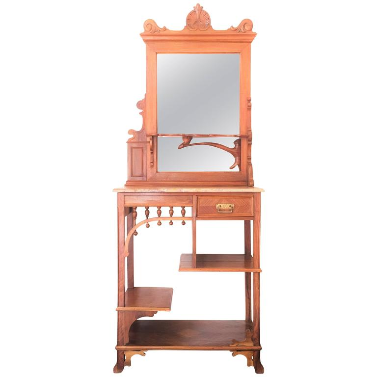 Rare and modern etagere with mirror and drawer vanity for Miroir etagere