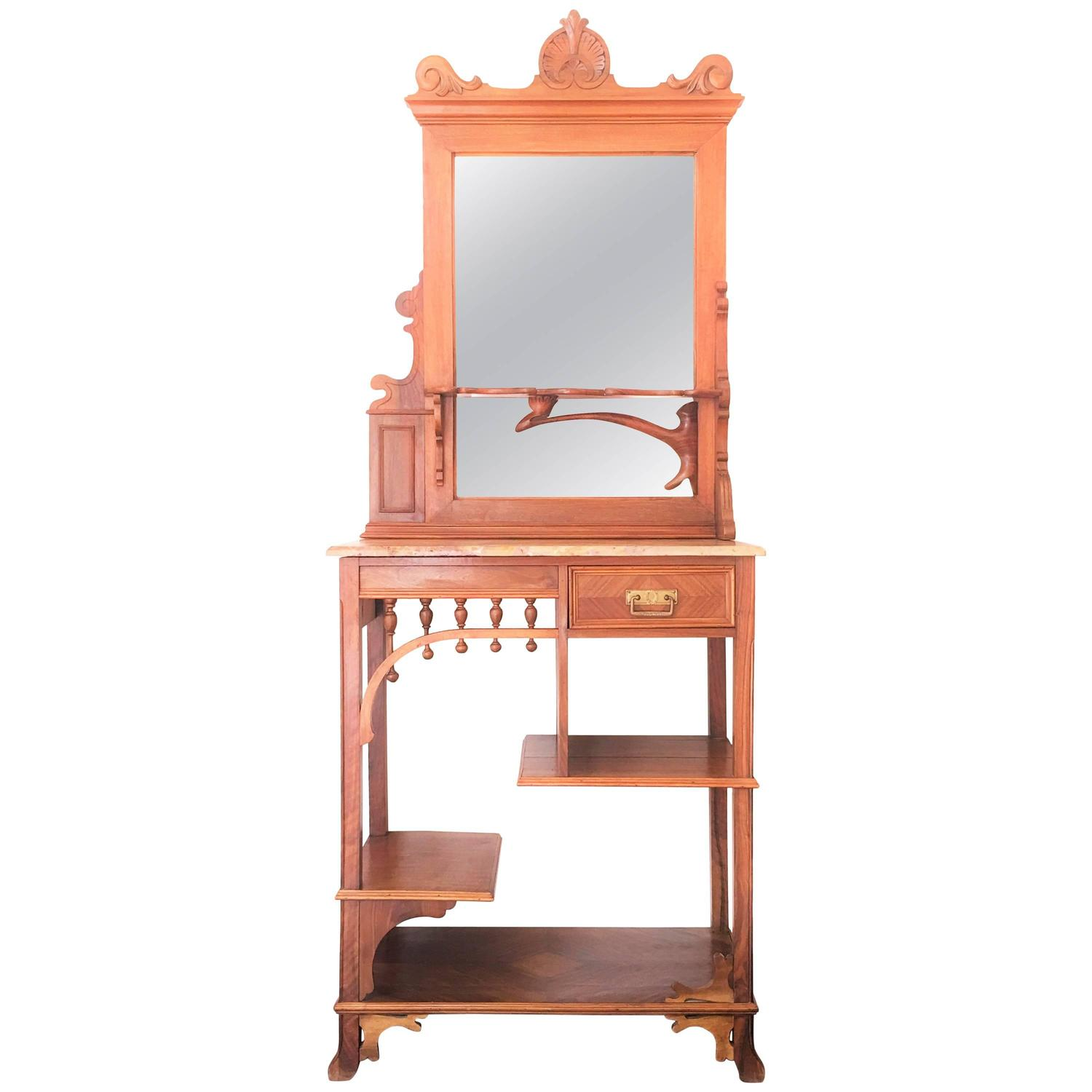 rare and modern etagere with mirror and drawer vanity hall and cupboard for sale at 1stdibs. Black Bedroom Furniture Sets. Home Design Ideas