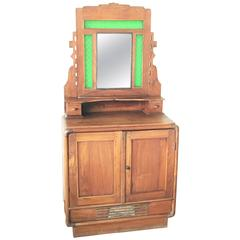 Oak Sideboard, Buffet with Mirror and Original Green Glass