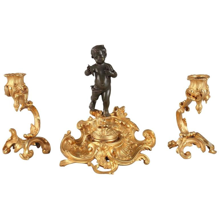 Napoléon iii Inkstand and Pair of Candlesticks For Sale