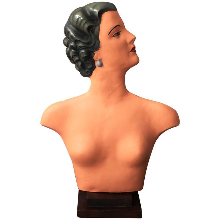 Art Deco Plaster Bust Mannequin For Sale