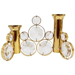 Palwa Brass and Crystals Candleholder in the Style of Gaetano Sciolari, 1970s