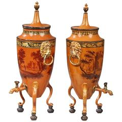 Pair of Drink Dispensers in Lacquered Tin Empire Period