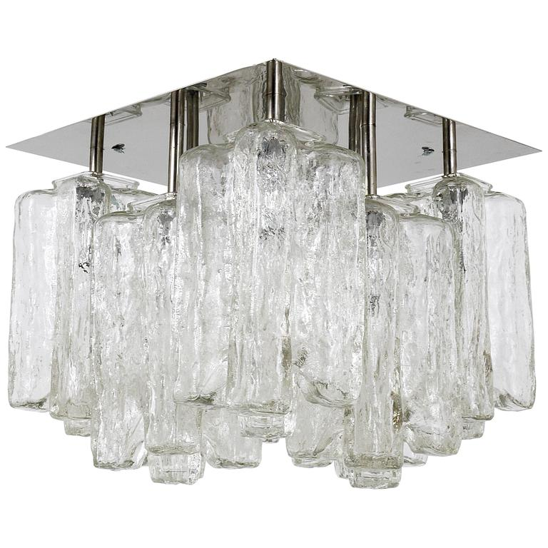 Kalmar Granada Ice Glass Flush Mount Chandelier, Austria, 1960s For Sale