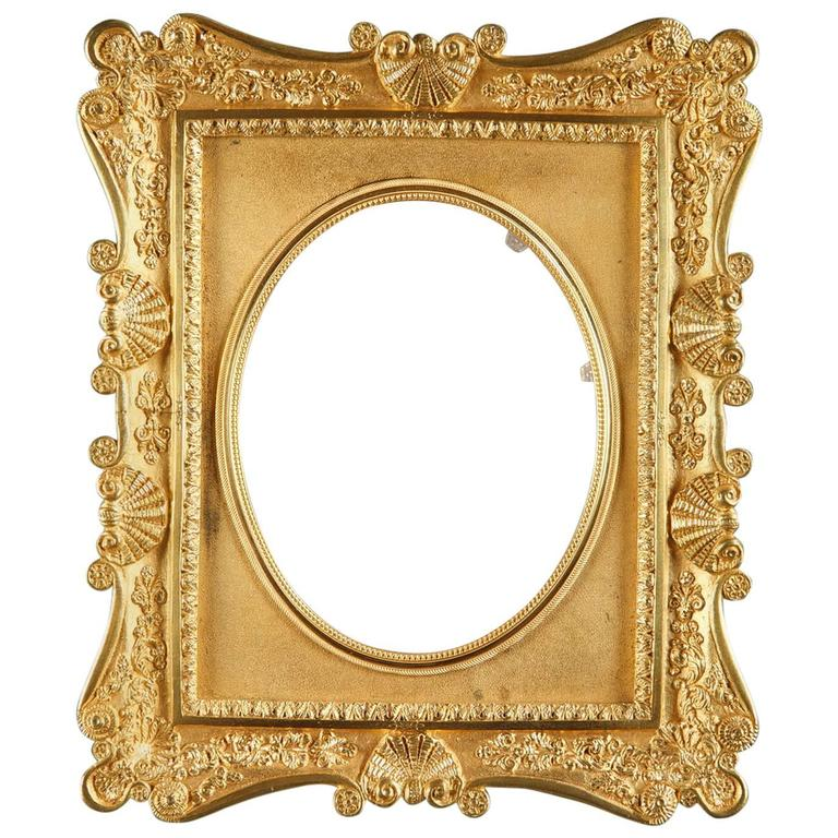 French Gilt Bronze Frame Decorated with Shells For Sale