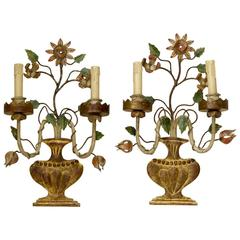 Pair of Tole Peinte Polychrome Flower Sconces, France, circa 1940s