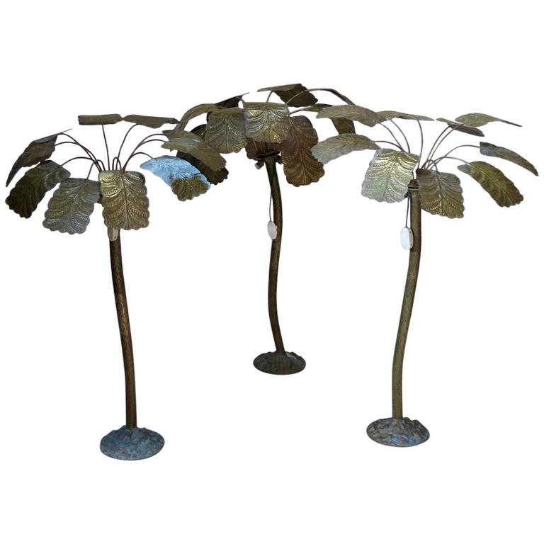 One-of-a-Kind Brass Palmtree Lamps, France, circa 1930s