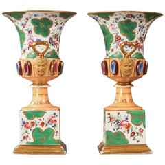 Pair of Porcelain Medici Vases, 19th Century