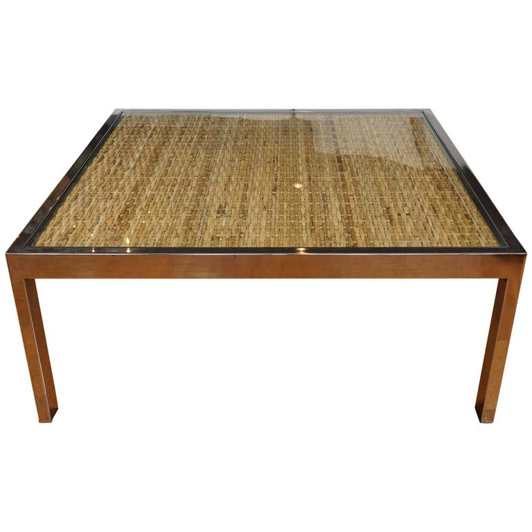 Square Chrome And Wicker Coffee Table For Sale At 1stdibs