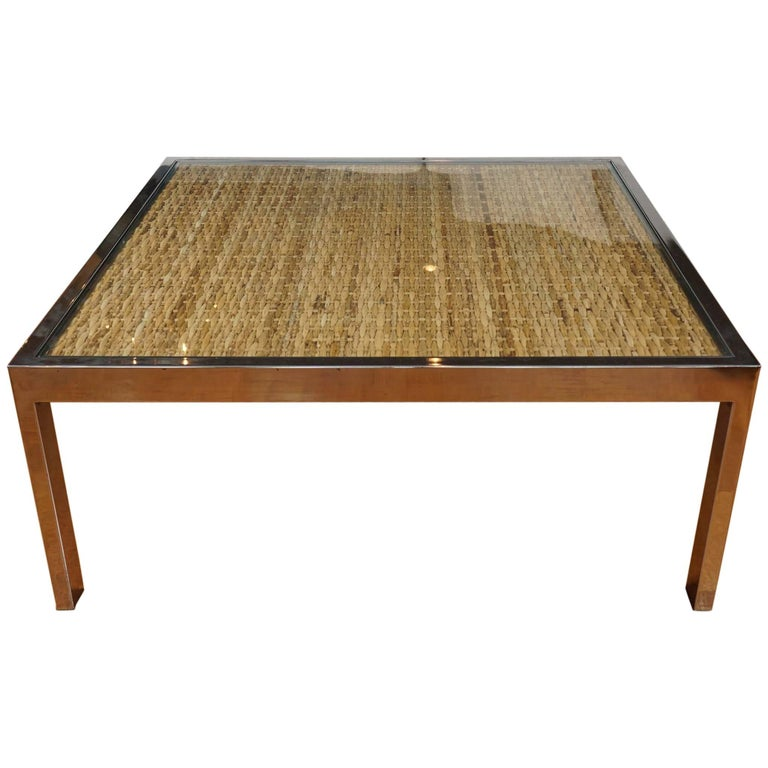 Square Chrome and Wicker Coffee Table For Sale