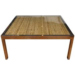 Square Chrome and Wicker Coffee Table