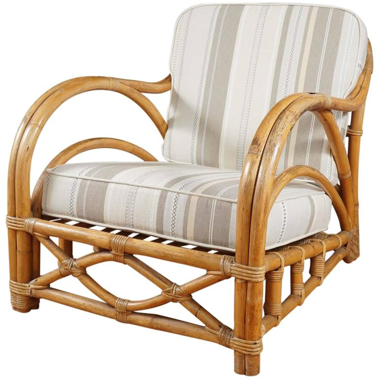 """Fancy"" Rattan Lounge Chair at 1stdibs"