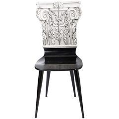 """Piero Fornasetti chair """"Capitello Corinizio"""", Italy circa 1960"""