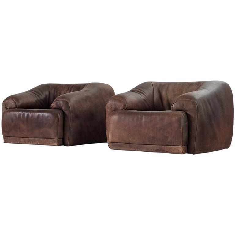 Set of Two De Sede Lounge Chairs in Dark Brown Leather 1