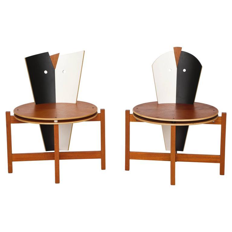 Robert Evanson Post Modern 1980 Chairs Tables Pair