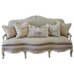 Antique Painted French Country Louis XV Style Sofa Settee in Irish Linen