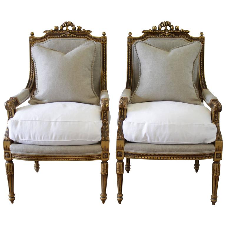 Pair Of Gold Gilt French Armchairs Louis XVI Style In Belgian Linen And Down