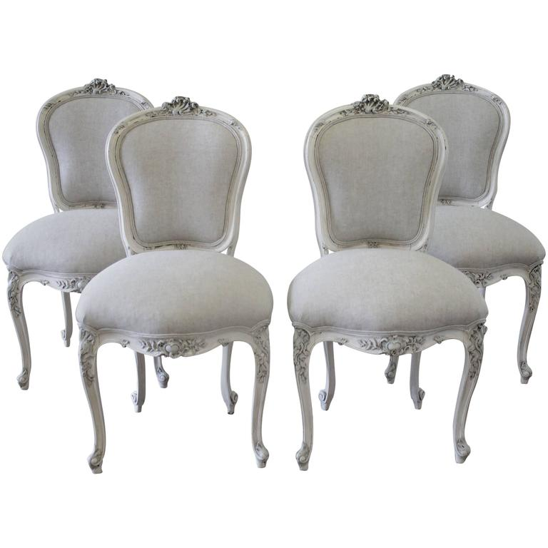 Set of Four Antique French Rococo Painted Dining Chairs at