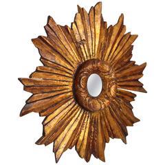 Spanish Baroque Style Giltwood Small Size Sunburst Mirror
