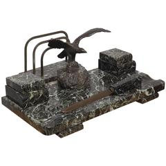Three-Piece Marble Desk Set with Bronze Eagle, circa 1930
