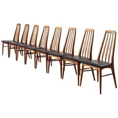 Niels Kofoed Set of Eight Dining Chairs in Teak and Black Leather