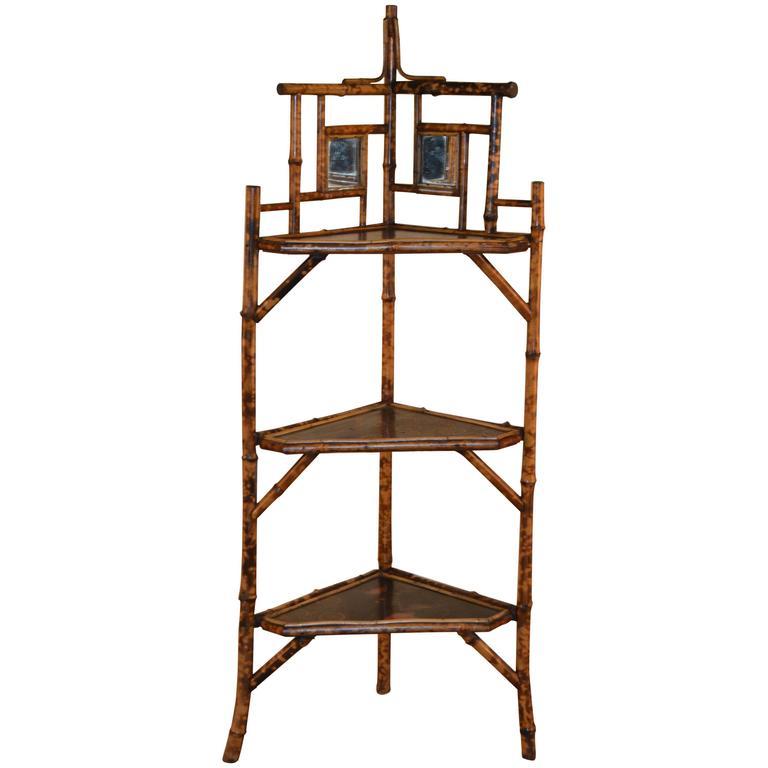 19th Century French Tortoise Bamboo Corner Shelf